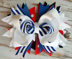 All American 4th of July hair bow headband Girls Hair Bow Red White Blue Boutique Hair Bow Children's hair bows Stacked hair bow