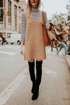 Camel Sweater Dress, Over-the-Knee Boots, and a striped turtleneck at Union Square.
