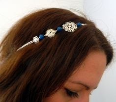 Headband pierre semi précieuse et estampe argenté