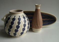 Contemporary Poole Pottery in patterns designed by Alfred Read in Smoke and Bracken Colour Glazes