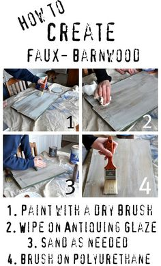 Making this for a project......fake barn wood: Benjamin Moore's Beach Glass and Valspar's Translucent Color Glaze in Mocha