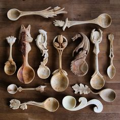 Hand carved green wood spoons by Giles Newman