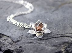 Silver Lotus Necklace Pendant  Sterling silver and by HapaGirls, $66.00