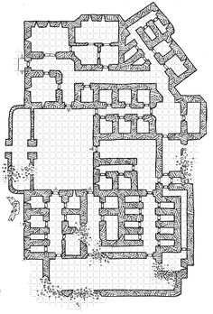 In a run-down end of town is a squat and ugly ruin. The Ashen Castle was once a prison – when the city had more law and order and the means to maintain a prison and prison population. But tha… Fantasy Map Making, Fantasy World Map, Castle Layout, Prison, Building Map, Map Layout, Adventure Map, Pathfinder Rpg, Dungeon Maps