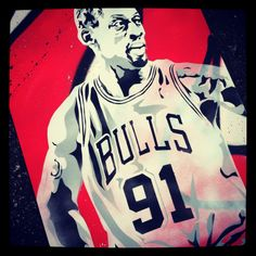 Dennis Rodman stencil - Chicago Bulls   Stencil by Ryan Fors
