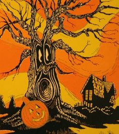 Vintage Halloween Illustration at DuckDuckGo Retro Halloween, Vintage Halloween Cards, Vintage Halloween Decorations, Halloween Prints, Halloween Trees, Halloween Pictures, Spirit Halloween, Holidays Halloween, Halloween 2018