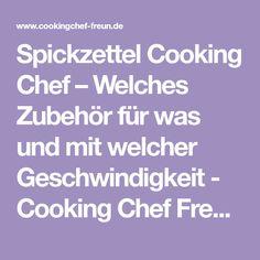 Spickzettel Cooking Chef – Welches Zubehör für was und mit welcher Geschwindigkeit - Cooking Chef Freunde