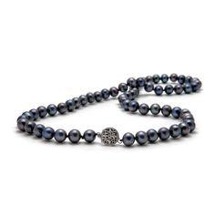 Classic Cultured Black Pearl Necklace, Medium Pearls - The Pearl Girls Black Pearl Jewelry, Black Necklace, Pearl Necklace, Pearl Shop, Cultured Pearls, Dark Colors, Beaded Bracelets, Jewels, Medium