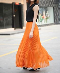 Pleat Full Skirt in Chiffon