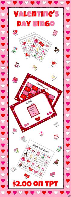 Here's a Valentine's Day bingo game I made. Comes with everything you need (except chips). Use the powerpoint included to have students identify the correct Valentine's Day pictures on their bingo sheet. Each sheet has different pictures so only one or two students will get bingo at a time. Bingo sheets are 3 X 3. Words are under each picture. Sorry, no free space!