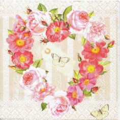 20 Shabby Chic PAPER Lunch NAPKINS Vintage Floral Heart PARTY Craft DECOUPAGE