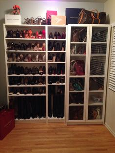 Ikea Billy Bookcases  X X To House My Growing Collection Of Shoes. Get The  Extra Shelves To Store More Shoes Bags. Glass Doors With The White Frames
