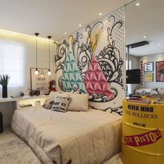 Big dreams in a small bedroom? See our stylish tips to give that tiny bedroom a big attitude! Dream Bedroom, Girls Bedroom, Bedroom Decor, Bedrooms, Tyni House, Teenage Room, My Room, Decoration, House Design