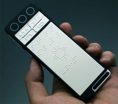 B - Touch Mobile Phone concept - imagine how much easier it would be for the visually impaired to perform everyday tasks like talking on the phone, reading a book, and recognizing objects if they had an accessible all - in - one device like this.