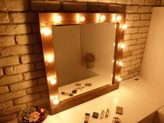 Hollywood mirror with lights - rustic mirror - makeup mirror - bathroom mirror - wooden mirror - farmhouse decor- bulbs not included