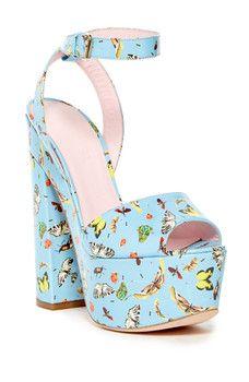 GIAMBATTISTA VALLI - Vernice Stampa Butterfly Platform Sandal