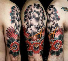 Pirate ship tattoo by Myke Chambers Tattoos, via Flickr