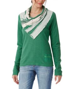 0caedb346e Take a look at this Green Distressed Pullover - Women today! Samodzielnie  Zrobione Ubrania