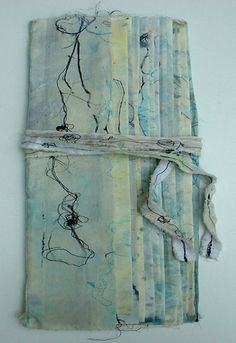 book 'Line game' by Willy Schut - Textile book. Embroidered and printed with mixed materials. 44 x 14 x 1, © 2007