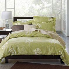Sketchbook Floral Organic Duvet Cover / Comforter Cover  Love the green for spring/summer.