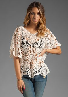 ETERNAL SUNSHINE CREATIONS Sunflower Petal Crochet Top in Ivory at Revolve Clothing - Free Shipping!