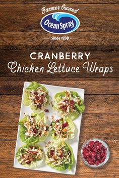 Lettuce never looked so good! Especially with triple cranberry action. Enjoy the delicious Triple Cranberry Chicken Lettuce Wrap for a crunchy lunch, picnic or shareable feast. Healthy Chicken Recipes, Diet Recipes, Healthy Snacks, Cooking Recipes, Recipies, Cranberry Chicken, Smoothies, Wrap Recipes, Appetizer Recipes