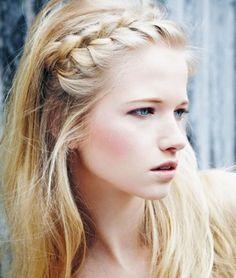 Headband braid or side french braid with lose beach waves.