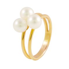 Yellow Gold Ring by Ateliers Saint Germain - Jewels Made In France - Chic Fashion - Real Freshwater Pearls -
