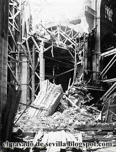 EL PASADO DE SEVILLA: Hundimiento del cimborrio de la Catedral de Sevilla I El pilar que aparece caído  entre los escombros era el simétrico del que se había derrumbado el día de los Santos Inocentes de 1511.