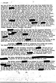 Are these classified FBI files proof ADOLF HITLER escaped by SUBMARINE to Argentina?
