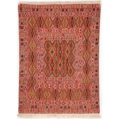 A rich palette of reds and browns, with purple and pink accents, characterises this eye-catching Daizangi kilim from Afghanistan. The primary shape in the pattern is an elongated diamond within a diamond—a combination that suggests a cat's eye.