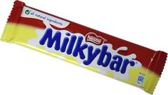 Nestle Milkybar   It's the classic, all-natural white chocolate bar from Nestle, championed by the Milkybar Kid!
