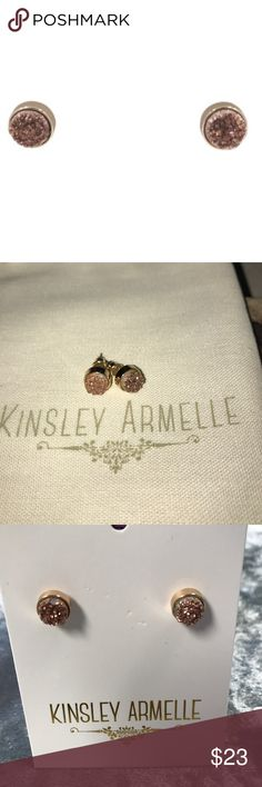 NEW Kinsley Armelle druzy earrings Kinsley Armelle Regal Collection- Amber Stud Earrings.  Oval Crystal Stone Rocky Surface 18K Gold Plated Circle Stone Dimensions: 8x8mm Thickness: 5mm Kinsley Armelle Jewelry Earrings