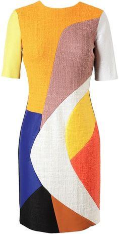 roksanda ilincic Patchwork Boucle Wool Dress - Lyst