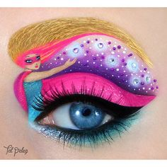 Barbie inspired eye art with crystal accents by MUA Tal Peleg.