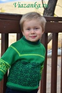 Knitted sweaters for two brothers (matching),  free pattern and instructions