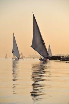 "(via 500px / Photo ""Feluccas on the Nile River"" by Adam Goldberg)  dontcallmebetty:"