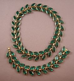 """Trifari Green Laurel Necklace & Bracelet Set / Mark (Crown over the """"T"""" and no copyright symbol) dates these pieces to the late 1940s. Necklace and bracelet can be attached together for a longer necklace"""