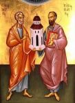 """Ss Peter and Paul are sometimes depicted together in a single Icon (they also share a feast day: June 29) and when they do they are shown together supporting a small Church Building in their hands (left). This reflects the hymnography of the Church, where the two Apostles are praised as """"pillars of the Church."""" Not only were they pillars of the Church, but church-builders too, establishing Christian communities (churches) around the Mediterranean and Holy Lands. Later, other Saints are…"""
