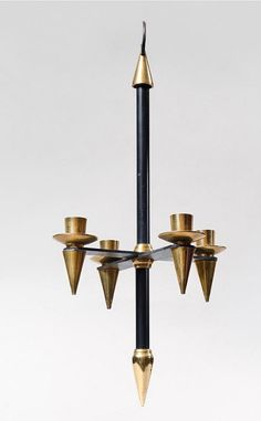 gio Ponti Pendant Black Metal And Gold Brass 4 Arms Of Lights (h: La Maison Bananas, Proantic Gio Ponti, Black Metal, Art Decor, Candle Holders, Arms, Objects, Pendants, Candles, Lights