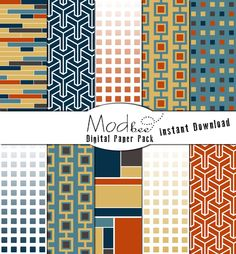 "Digital Paper 10 PACK - Geometric Navy Blue, Teal, Gold Orange & Chocolate Brown (300 dpi) -- 10 designs - 12"" by 12"" Instant Download (086) by modBeeDesign on Etsy https://www.etsy.com/listing/127201354/digital-paper-10-pack-geometric-navy"
