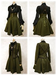 I would do intense battle sequences in this outfit. I would do intense battle sequences in this outfit. Old Fashion Dresses, Fashion Outfits, Pretty Outfits, Pretty Dresses, Fantasy Dress, Steampunk Clothing, Kawaii Clothes, Character Outfits, Lolita Dress