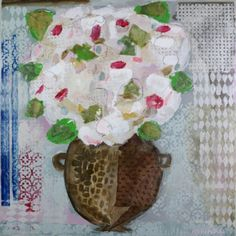"Christy Kinard, ""Linen Hydrangeas with Blue Stripe"", Mixed Media on Board, 36x36 - Anne Irwin Fine Art"