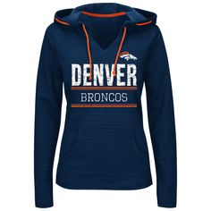 Denver Broncos Majestic Women's Swift Play Pullover Hoodie - Navy