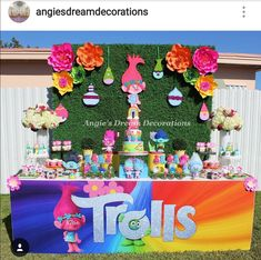 Trolls Theme Birthday Party Dessert Table and Decor
