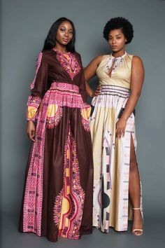 THE ZHARA Dashiki Maxi Dress in Chocolate Brown by OmiWoods