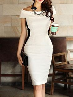 Buy Boat Neck Plain Bodycon Dress online with cheap prices and discover fashion Bodycon Dresses at fashionme to be fashionable now. Elegant Dresses, Pretty Dresses, Sexy Dresses, Vintage Dresses, Casual Dresses, Fashion Dresses, Dresses For Work, Summer Dresses, Formal Dresses