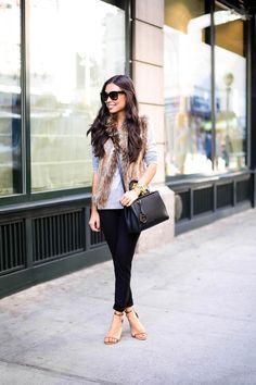 Loft pants, shirt, and shoes | Bella Fare vest | Celine sunglasses | Fendi bag