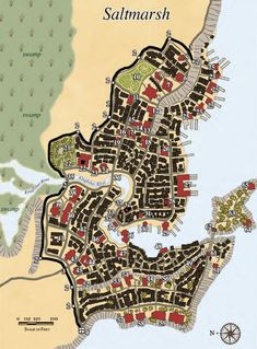 map of saltmarsh d&d - Yahoo Image Search Results Dungeons And Dragons 5, Dungeons And Dragons Homebrew, Dnd Map Creator, Dnd World Map, Fantasy City Map, Imaginary Maps, Village Map, Pathfinder Rpg, Location Map