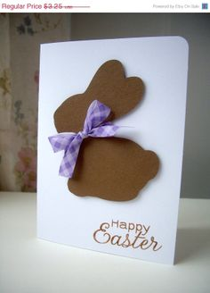 ON SALE easter bunny card easter card happy by JDooreCreations, $2.93
